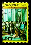 Ferdinand, Isabella, Columbus met bemanning vóór troon, serie, ci stock foto