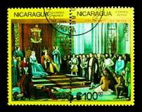 Ferdinand, Isabella, Columbus met bemanning vóór troon, serie, ci stock afbeeldingen