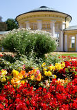 Ferdinand Spring Colonnade, Marianske Lazne Spa. Flowers in Front of Ferdinand Spring Colonnade, Marianske Lazne - Marienbad Spa, Czech Republic royalty free stock photography