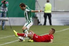 Ferencvaros对 多瑙新城OTP银行同盟足球比赛 免版税库存照片