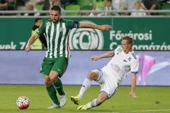Ferencvaros对 Bekescsaba OTP银行同盟足球比赛 免版税库存照片