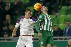 Ferencvaros对 Vasas OTP银行同盟足球比赛 库存图片