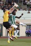 Ferencvaros对Ujpest OTP银行同盟足球比赛 库存图片