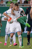Ferencvaros εναντίον Αγώνας ποδοσφαίρου ένωσης τράπεζας Bekescsaba OTP Στοκ Εικόνα