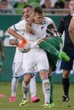 Ferencvaros против Футбольный матч лиги банка Bekescsaba OTP Стоковое Изображение