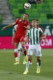 Ferencvaros contra Fósforo de futebol da liga do banco de Dunaujvaros OTP Foto de Stock