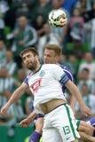 Ferencvaros contra Fósforo de futebol da liga do banco de Ujpest OTP Fotos de Stock Royalty Free