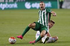 Ferencvaros contra Partido de fútbol de la liga del banco de Bekescsaba OTP imagen de archivo libre de regalías