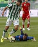 Ferencvaros contra Partido de fútbol de la liga del banco de Dunaujvaros OTP fotos de archivo
