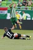 Ferencvaros contra Partido de fútbol de la liga del banco de DVTK OTP Foto de archivo