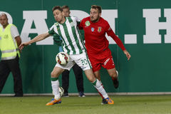 Ferencvaros contro Partita di calcio della lega della Banca di Dunaujvaros OTP fotografia stock libera da diritti