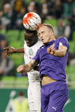 Ferencvaros - de voetbalwedstrijd van de de Bankliga van Ujpest OTP Stock Fotografie