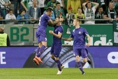 Ferencvaros - de voetbalwedstrijd van de de Bankliga van Ujpest OTP Royalty-vrije Stock Afbeeldingen