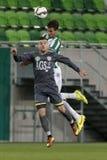 Ferencvaros gegen Bank-Ligafußballspiel Haladas OTP lizenzfreie stockfotografie