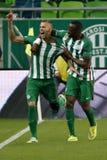 Ferencvaros gegen Bank-Ligafußballspiel Honved OTP stockbilder