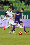 Ferencvaros, Ujpest OTP banka Ligowy futbolowy dopasowanie - Obrazy Stock
