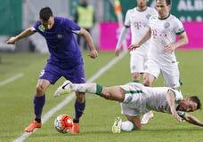Ferencvaros, Ujpest OTP banka Ligowy futbolowy dopasowanie - Zdjęcia Stock