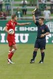 Ferencvaros versus De Ligavoetbalwedstrijd van de Dunaujvarosotp Bank Stock Foto