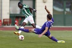 Ferencvaros versus de voetbalwedstrijd van de de Bankliga van Ujpest OTP Royalty-vrije Stock Fotografie