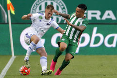 Ferencvaros vs. Bekescsaba OTP Bank League football match. BUDAPEST, HUNGARY - SEPTEMBER 19, 2015: Duel between Cristian Ramirez of Ferencvaros (r) and Balazs stock photography