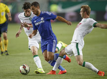 Ferencvaros vs. Chelsea stadium opening football match. BUDAPEST, HUNGARY - AUGUST 10, 2014: Michal Nalepa (r) of FTC and Eden Hazard of Chelsea during Stock Photo