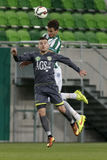 Ferencvaros vs Haladas OTP banka Ligowy futbolowy dopasowanie fotografia royalty free
