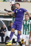 Ferencvaros vs. Ujpest OTP Bank League football match. BUDAPEST - SEPTEMBER 22: Air bottle between Ulysse Diallo of FTC (L) and Balazs Balogh of UTE during Royalty Free Stock Photo