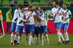 Ferencvarosi TC V MTK Budapest - bank Liga 1-1 för ungrare OTP Royaltyfri Bild