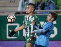 Ferencvarosi TC v Paksi FC - Hungarian OTP Bank Liga  1-2. BUDAPEST, HUNGARY - NOVEMBER 5, 2016: Emir Dilaver #66 of Ferencvarosi TC duels for the ball with Stock Photos