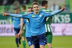 Ferencvarosi TC v Paksi FC - Hungarian OTP Bank Liga  1-2. BUDAPEST, HUNGARY - NOVEMBER 5, 2016: JanosHahn #9 of Paksi FC celebrates his goal during Stock Photo