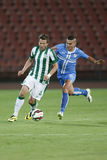 Ferencvarosi TC vs. HNK Rijeka UEFA EL football match. BUDAPEST, HUNGARY - JULY 24, 2014: Duel between Benjamin Lauth of FTC (r) and Josip Brezovec of Rijeka stock image