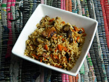 Fergana pilaf. Classic uzbek pilaf – mutton, onion, carrot and rice Royalty Free Stock Images