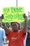 Ferguson Demonstrator Holds Sign Royalty Free Stock Photography
