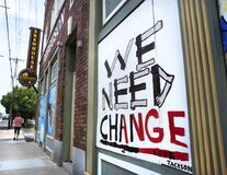 Free Ferguson, Missouri, USA, June 20, 2020 - We Need Change Sign Painted On Boarded Up Business Windows After Police Brutality Riots Royalty Free Stock Photos - 187888708
