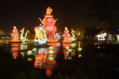 Feria china del templo del Año Nuevo 2014 y festival de linterna Fotografía de archivo libre de regalías