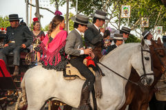 Feria de Abril. Is the Celebration of Spring in Sevilla, Spain. During this fiesta people wear traditional clothes and dresses of Andalusia and dance the local stock photos