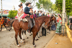 Feria de Abril. Is the Celebration of Spring in Sevilla, Spain. During this fiesta people wear traditional clothes and dresses of Andalusia and dance the local stock photo