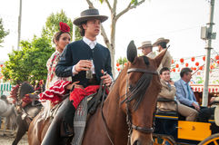 Feria de Abril. Is the Celebration of Spring in Sevilla, Spain. During this fiesta people wear traditional clothes and dresses of Andalusia and dance the local royalty free stock photography