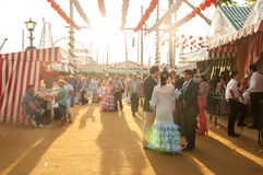 Feria de Abril. Is the Celebration of Spring in Sevilla, Spain. During this fiesta people wear traditional clothes and dresses and dance the local version of royalty free stock images