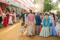 Feria de Abril. Is the Celebration of Spring in Sevilla, Spain. During this fiesta people wear traditional clothes and dresses and dance the local version of royalty free stock photography