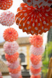 Feria de Abril in the streets of Seville. Lanterns in Seville due to Feria de Abril, a one-week festival in spring Royalty Free Stock Photos