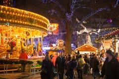 Feria de diversión tradicional cuadrada de Leicester, Londres Fotos de archivo