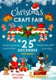 Feria del día de fiesta de la Navidad o invitación del mercado del invierno stock de ilustración