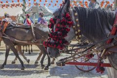 Feria paarden Feria de Abril in Sevilla Stock Afbeelding