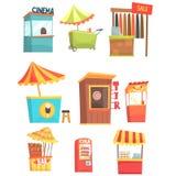 Feria y quioscos de la comida y de la tienda de la calle de mercado, pequeños soportes temporales para los vendedores fijados de  Fotos de archivo