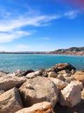 Feriado agradável na praia de Prado em Marselha fotos de stock