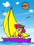Feriado da mulher na praia ilustração do vetor