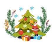 Feriado de inverno do Feliz Natal, caráter de Santa Claus com árvore ilustração stock
