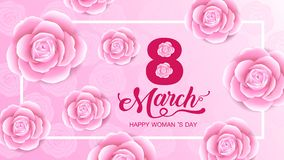 Feriado do dia das mulheres felizes, o 8 de março, entalhe principal da silhueta da menina, fundo da flor bandeira, cartão, carta ilustração stock