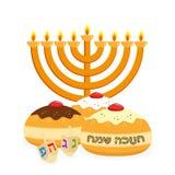 Feriado do Hanukkah, do candelabro e do sufganiyot ilustração do vetor